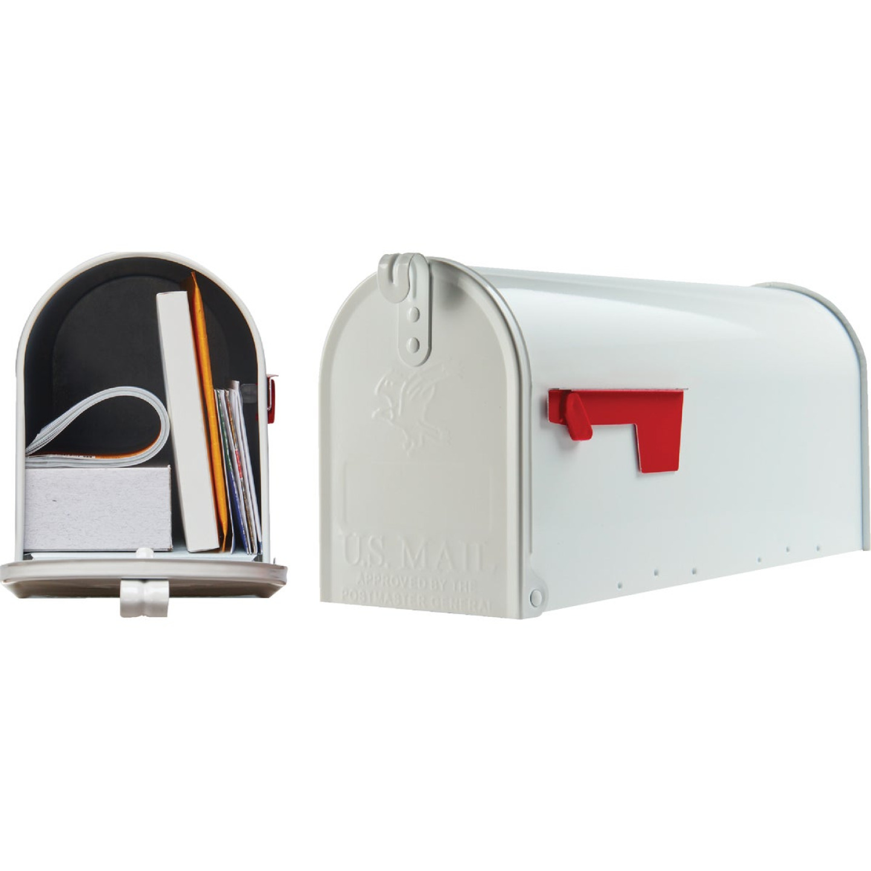 Gibraltar Elite T1 White Steel Rural Post Mount Mailbox Image 1