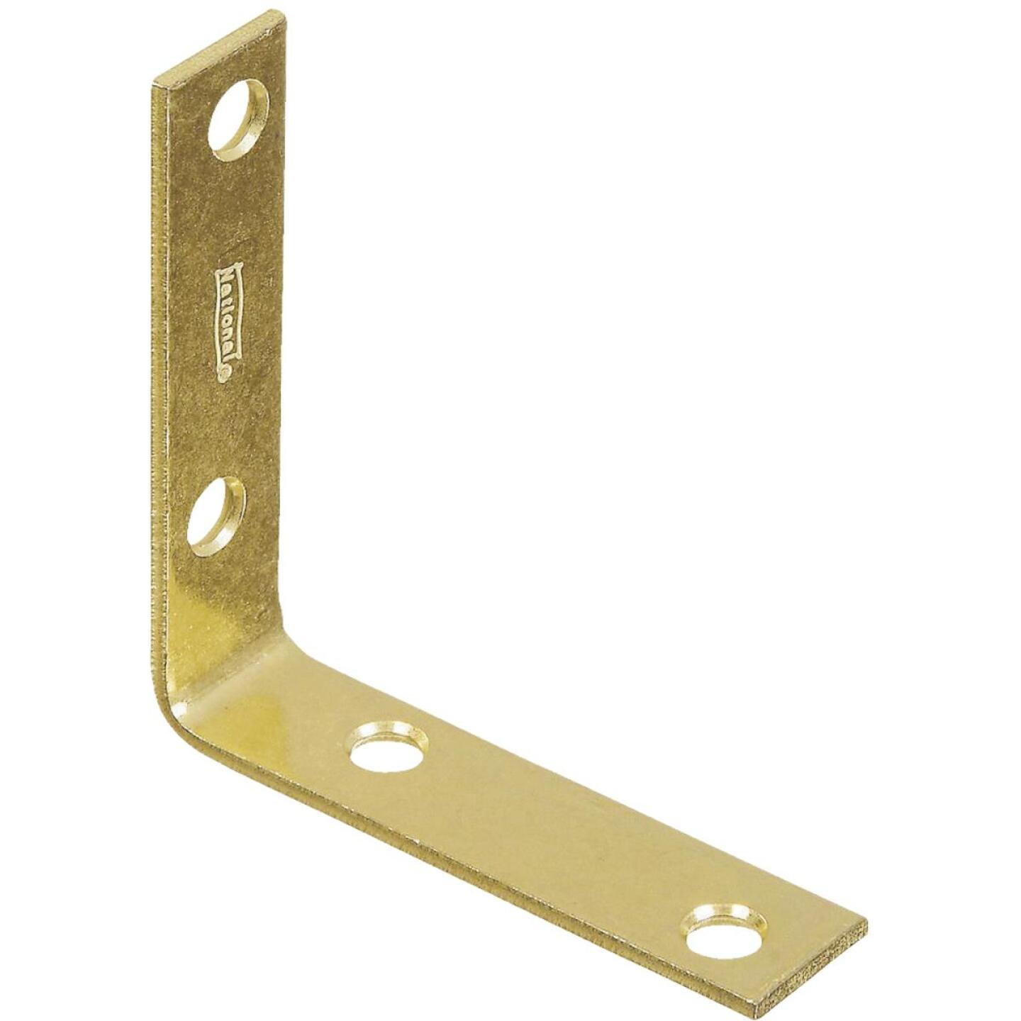 National Catalog V115 3 In. x 3/4 In. Brass Steel Corner Brace (4-Count) Image 1