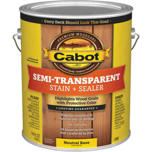 Cabot Semi-Transparent Deck & Siding Exterior Stain, Neutral Base, 1 Gal.